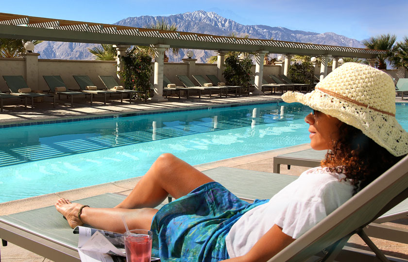 Enjoying the Palm Springs mountain views by the pool